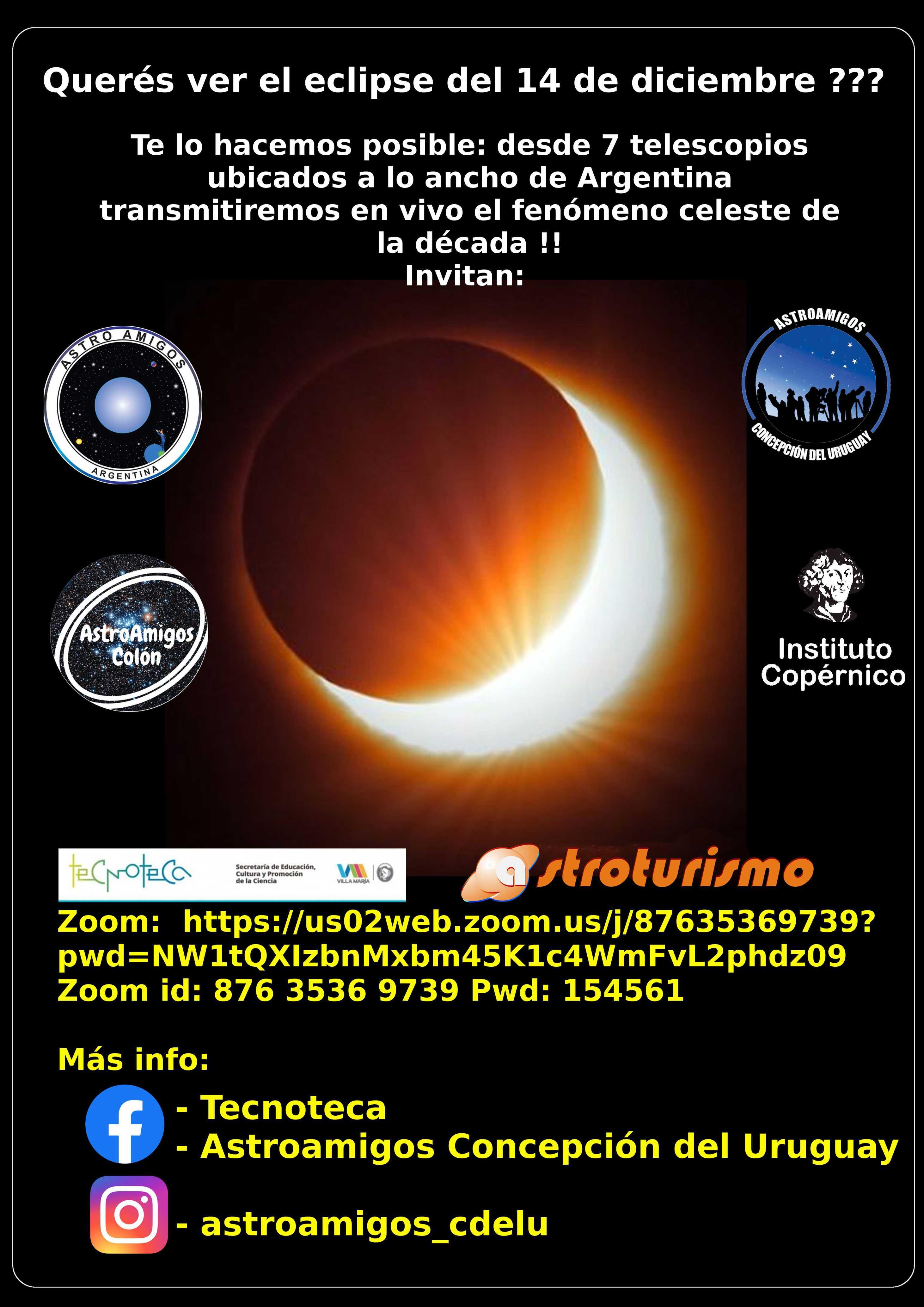 Flyer de la transmisión del eclipse en vivo